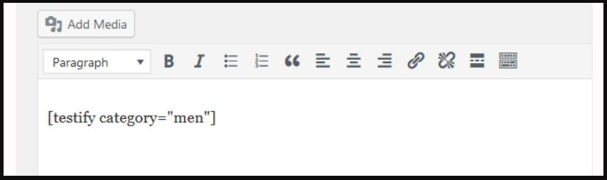 Adding the Testify module's shortcode to a page.