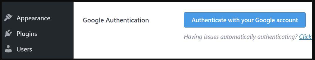 Authorize Your Google Analytics Account