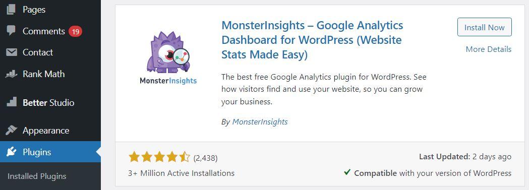 Install the MonsterInsights Plugin