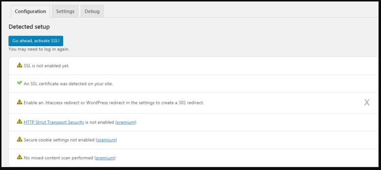 The Really Simple SSL module settings.